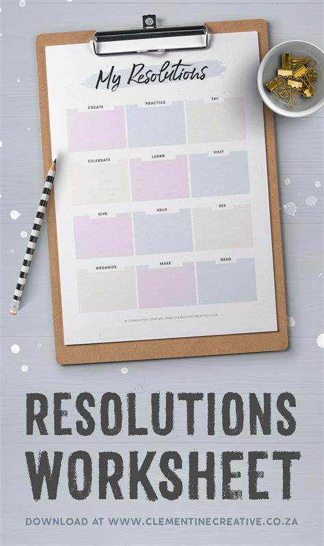 set  years goals   resolutions worksheet