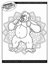 Coloring Gorilla Gorillas Animal sketch template