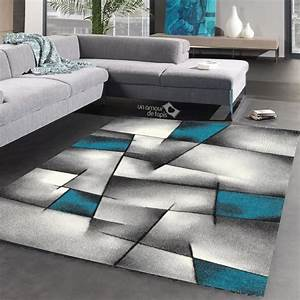 tapis salon design en polypropylene triangula bleu 160x230 With tapis bleu salon
