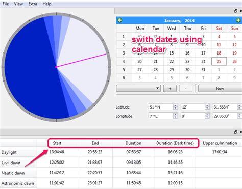 calculate sunrise sunset times export data pc suncalculator