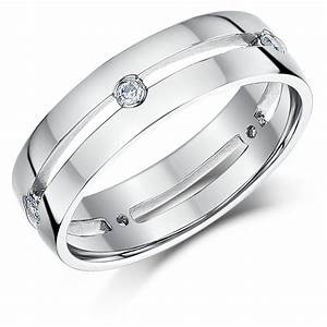 6mm 9ct White Gold Five Diamond Set Wedding Ring Band