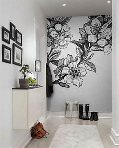 Fresque Murale Papier Peint : springtime black white en 2019 shopping papier peint dessin mural parement mural et art ~ Melissatoandfro.com Idées de Décoration