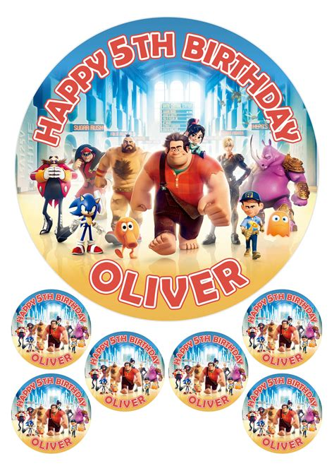 wreck it ralph cake toppers personalised wreck it ralph 7 5 quot 6 x 2 quot edible