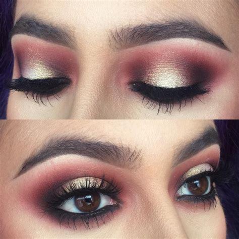 gold glitter burgundy smokey eye atnattyicee halo
