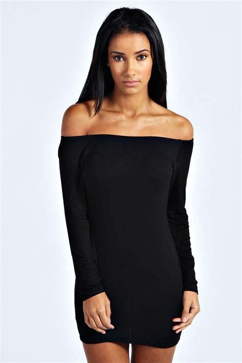 Boohoo Womens Alice Off The Shoulder Long Sleeve Bodycon Dress   eBay