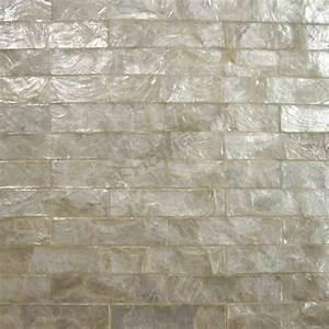 White capiz tiles brick pattern mesh backing for wall