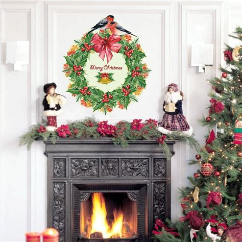christmas decoration christmas wreath wall sticker living