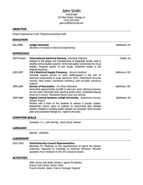 resume template app sle resume cover letter format