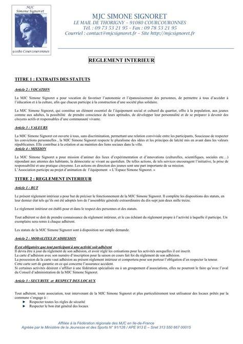 reglement interieur association pdf espace signoret l association r 233 glement int 233 rieur