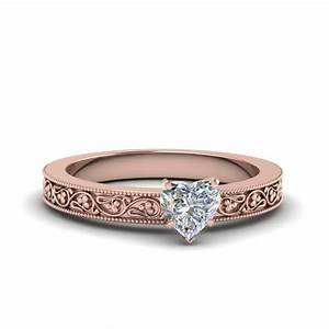 Heart Shaped Filigree Solitaire Diamond Engagement Ring ...