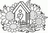 Coloring Birdhouse Sunflowers Popular sketch template