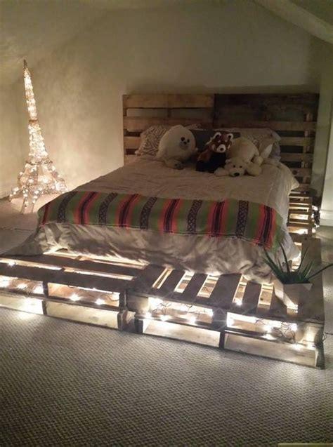 diy pallet board bed frame  headboard idea