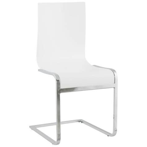 chaise bois et blanc chaise moderne durance en bois et métal chromé blanc