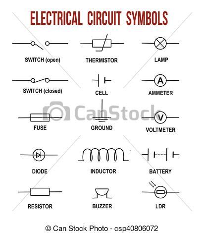electrical circuit symbols on white background helpful