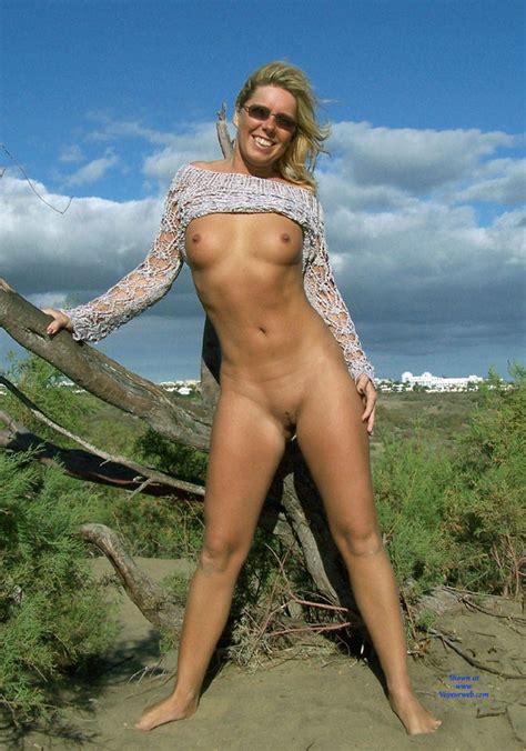 Nude Beach Pose Wearing Sunglasses August Voyeur