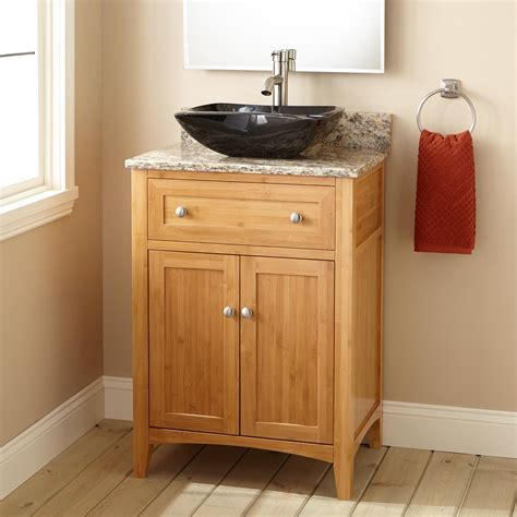 narrow depth halifax bamboo vessel sink vanity