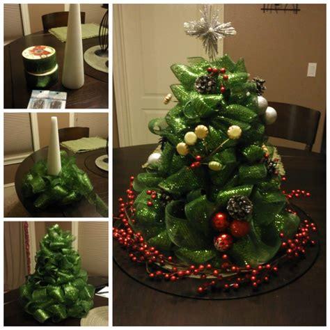 diy christmas centerpieces how to diy ribbon christmas tree centerpiece