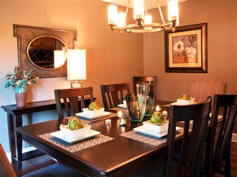 transitional brown dining room with sleek dining table hgtv
