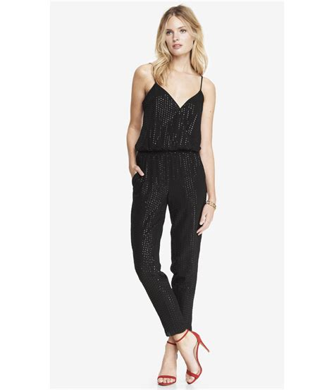 express jumpsuits express all sequin crossover cami jumpsuit in black