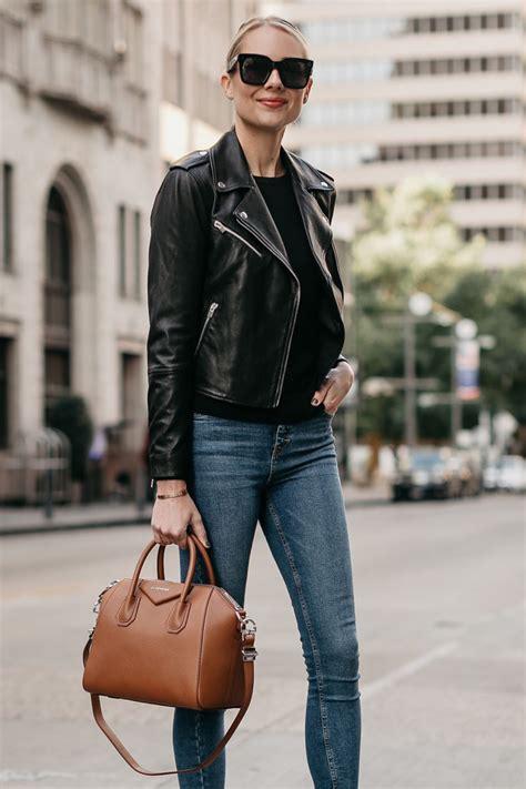 Fashion Jackson Black Leather Jacket Denim Skinny Jeans