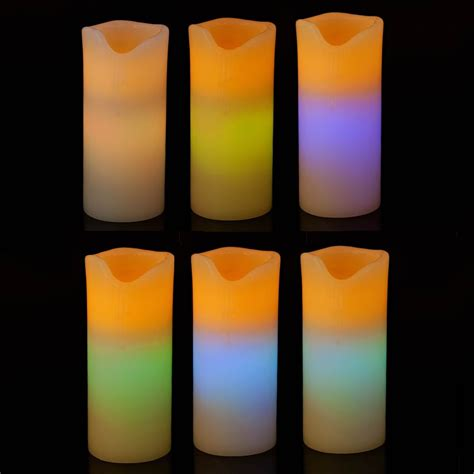 colour changing large led real wax 7 pillar battery