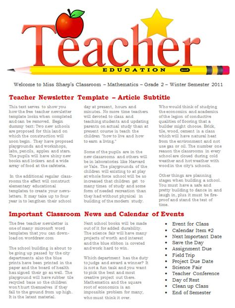 Free Newsletter Templates For Teachers by 20 Fantastic Printable Newsletter Templates Sle