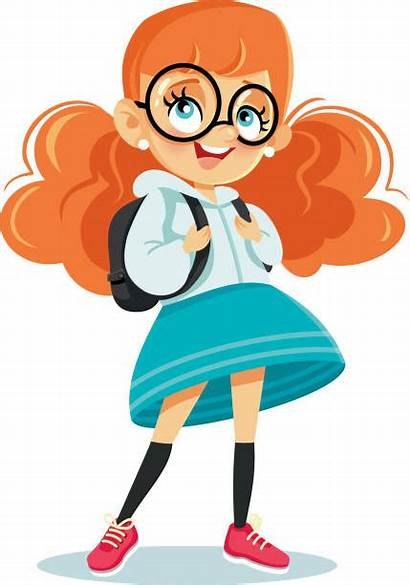 Cartoon Backpack Vector Illustration Student Clip Female