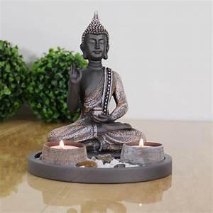 Buddha Figuren Deko : buddha sitzend mit teelicht 22cm deko statue f r wohnzimmer oder bad zen garten ebay ~ Indierocktalk.com Haus und Dekorationen