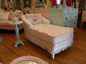 Shabby chic chaise lounge slip covered with vintage for Chenille fabric sectional sofa chaise lounge