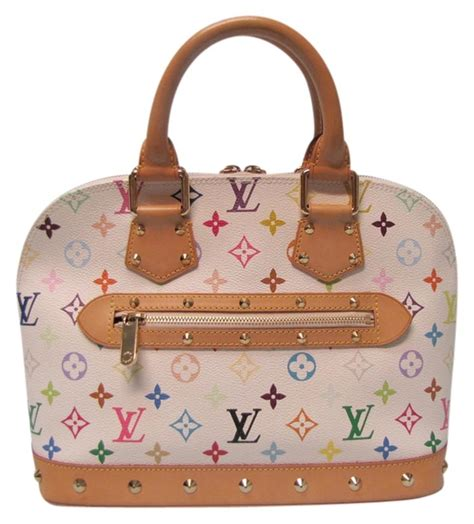 louis vuitton alma monogram white multicolor handbag