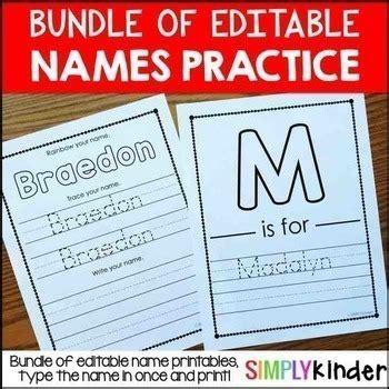 names editable names activities  printables