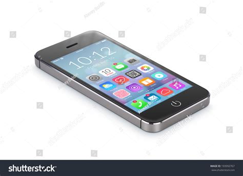 black modern smartphone with application icons on the black modern smartphone with flat design application icons