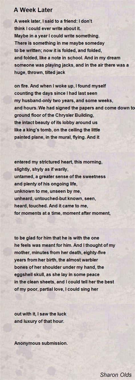 week  poem  sharon olds poem hunter