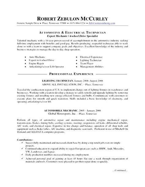 Curriculum Vitae For Automotive Technician by Automotive Mechanic Skills Resume Free Sles