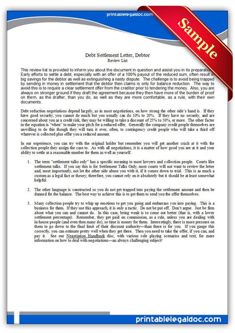 printable debt settlement letter debtor legal forms
