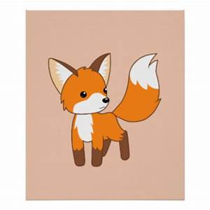 Cute Cartoon Fox Posters   Zazzle