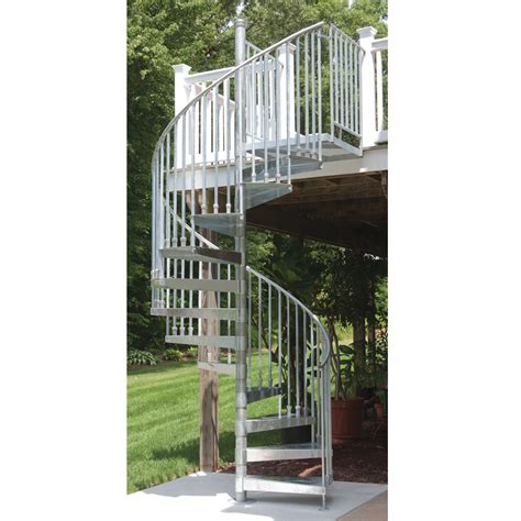 spiral staircase lowes shop the iron shop venice 26 in x 10 25 ft galvanized spiral staircase kit at lowes com