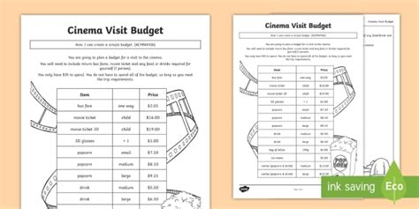 cinema visit budget worksheet activity sheet money dollars