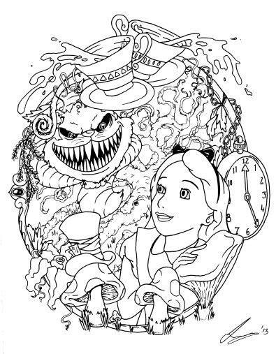 Alice and the creepy Cheshire cat | Tattoos | Wonderland tattoo, Tattoo sketches, Tattoo flash art