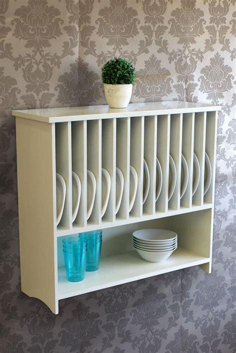 wooden wall mounted plate rack  shelf kitchen storage  white painted ebay
