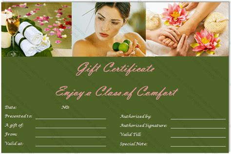 Massage Gift Certificate Template Free Download