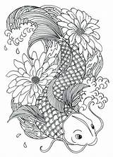 Coloring Fish Koi Pages Adult Coy Carp Deviantart Tattoo Printable Perey Drawings Drawing Colorful Books Pisces Colouring Sheets Animal Adults sketch template