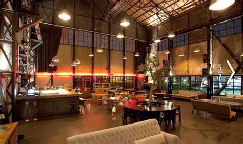 spacious rustic warehouse industrial cafe interior concept