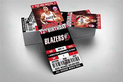 Blazers Portland Trail Ticket Invites Sports Party