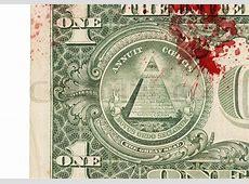 US one Dollar bill, close up photo, blood Stock Photo