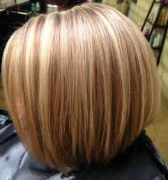 Inverted Bob Hairstyles with Blonde Highlights