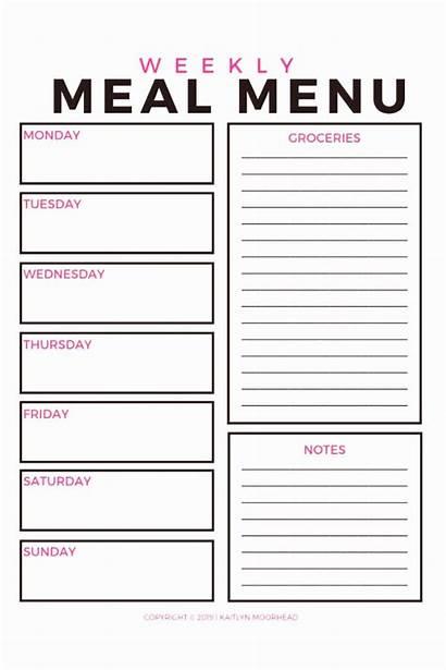 Menu Meal Printable Planner Weekly Planning Template