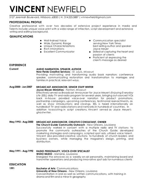 voice  resume vincent newfield march