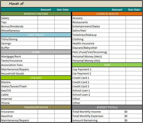 free budget template personal monthly budget template free several free retirement budget updates right here are