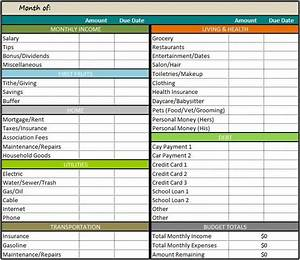 personal monthly budget template free several free With monthly living expenses template